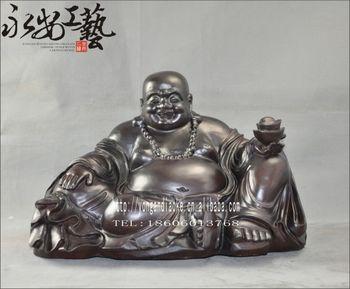 批发定做皮黑皮灰檀木雕 躺佛弥乐佛像 木制工艺品 低价销售