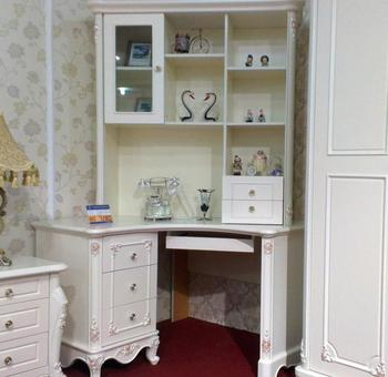 厂家供应 欧式转角书桌 l桌 法式雕花描银玫瑰书桌 写字桌 带书架