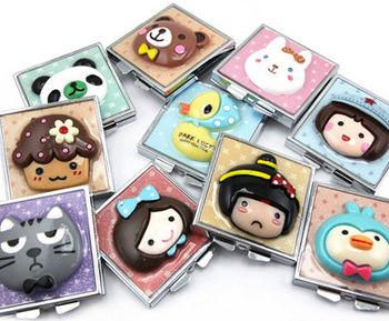 明利包包宝501bz 卡通小动物圆形公仔双面铁镜 卡通造型化妆铁镜