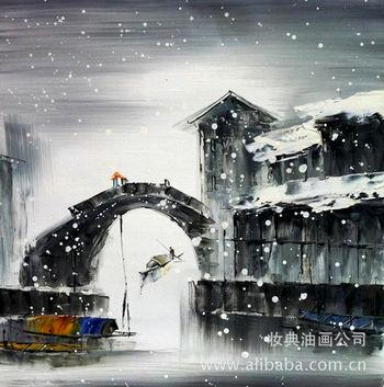 风景江南水乡油画《风雪江南》仿佛带人走进江南水乡的美景,给人清新