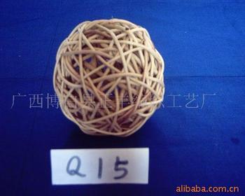 厂家直销纯手工编织圣诞藤编球 彩色藤球