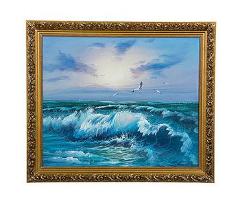 y油画批发 手绘油画 客厅卧室酒店装饰画大海风景油画