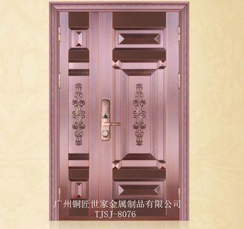 厂家批发优质铜门 防盗门 别墅双开门 欧式典雅玻璃门