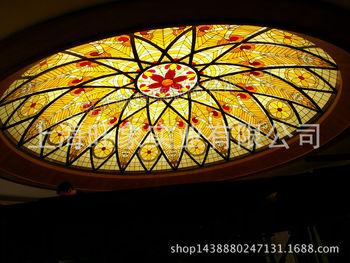 彩色玻璃天花镶嵌蒂凡尼欧式穹顶教堂彩绘手绘吊顶艺术屏风门窗