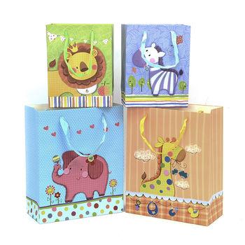 爆款韩版 时尚卡通小动物礼品袋 竖版纸袋生日礼物袋手提袋回礼袋