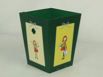 家用时尚创意垃圾桶收纳盒欧式桌面纸制折叠办公室可爱无盖收纳桶