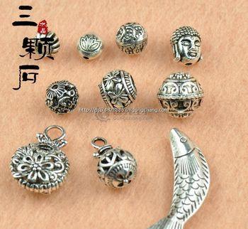 三颗石diy饰品藏银配件手工制作配件 古典花球 弥勒佛