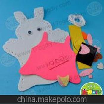 幼儿园手工diy材料批发--不织布手偶小兔子-儿童diy制作-美可diy