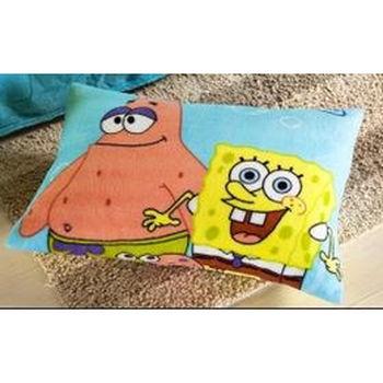 珊瑚绒枕套 优质卡通枕头套 儿童枕套 凯蒂猫海绵宝宝
