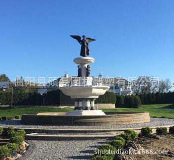 供应喷泉 汉白玉铸铜镶嵌结合 欧式造型大型室外喷水池 广场摆放