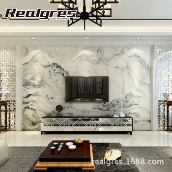 客厅大理石瓷砖背景墙 中式微晶石现代简约电视背景墙山水画定制