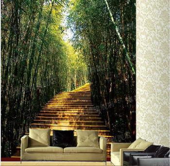 塞拉维自然清新风格竹林风景墙纸|电视墙背景沙发背景