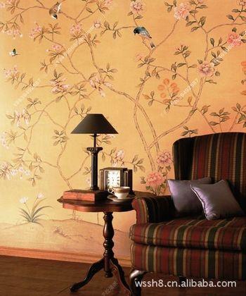客厅 沙发背景墙 手绘丝绸壁纸 王室手绘公司