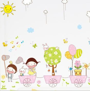 am7015童趣卡通韩国创意儿童房幼儿园可移除自粘墙纸电视沙发墙贴