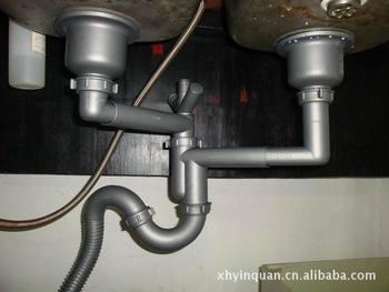 水槽双头隔臭存水弯塑料下水管s弯管下水头50mm管径方