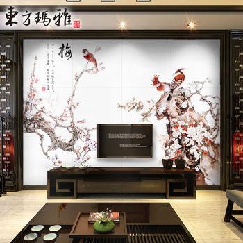 东方玛雅 电视背景墙文化砖 瓷砖背景墙 仿古砖 文化墙 影视墙 梅