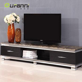 欧梵尼 欧式黑色电视柜 大理石台面 不锈钢金属 时尚整体地柜