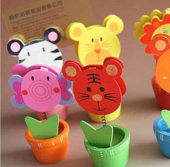 1299 热卖可爱 动物款照片夹韩国时尚卡通木质花盆留言名片夹