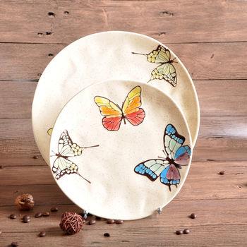 新品上市taisun手绘彩色蝴蝶陶瓷盘子套装 小批量订制