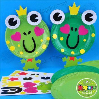 纸盘青蛙--幼儿手工diy材料包 美可diy幼儿园批发