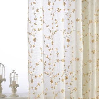 【好运莱】棉麻绣花窗纱隔断十字麻纱高档白色纱帘面料 厂家直销
