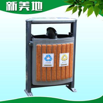厂家加工定做 园林景区钢木垃圾桶 d-01a户外双桶垃圾