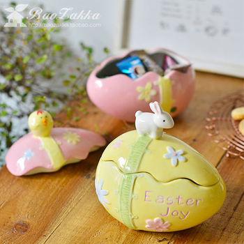 zakka手绘陶瓷超萌可爱生日礼物 小兔小鸡 蛋形糖果罐
