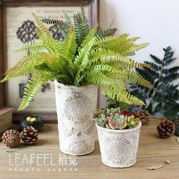 大手压粗陶欧式复古做旧浮雕红陶瓷水泥多肉花盆绿植物栽组盆批发