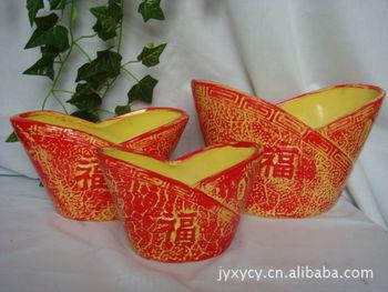 厂家直供衣服图案元宝形状陶瓷花盆(编号t1007)