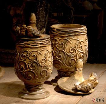 高档原创工艺摆件 欧式陶瓷花瓶 复古家居装饰品 带盖