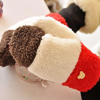 小熊彩虹三色保暖双层秋冬加厚保暖珊瑚绒拼色全指连指女手套批发