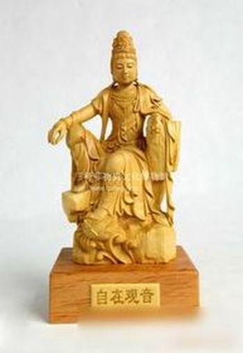 木雕—黄杨木雕 自在观音 佛像雕 纯手工雕刻