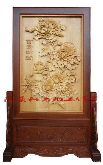 供应东阳木雕精品《富贵满堂》红木屏风 牡丹落地屏风