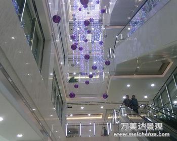 商场中庭吊顶灯饰 球类中空美陈吊饰
