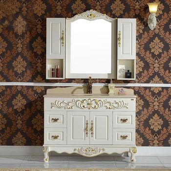 简约欧式浴室柜 落地洗手盆洗脸台仿古大理石橡木卫浴