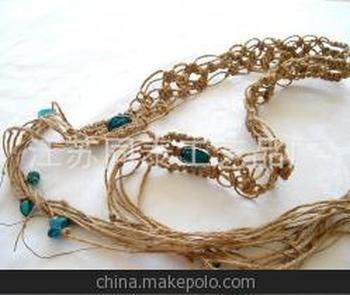 蜡绳编织腰链 珠珠编织腰带 棉线打结腰饰 绳编手链 pu条编织加工