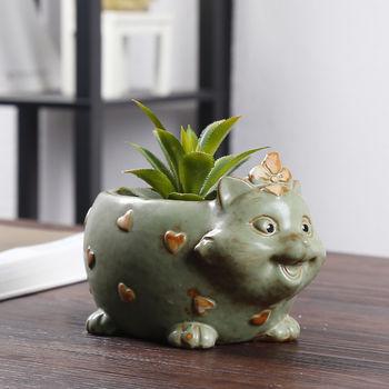 韩式家居创意k色动物多肉花盆 现代客厅陶瓷小花猫 喂