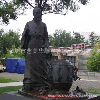 玻璃钢古铜色张衡头像雕塑 历史纪念人物雕塑 户外人物雕塑